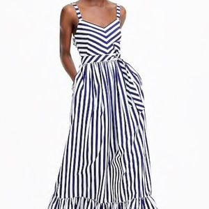 Blue and white stripe maxi dress